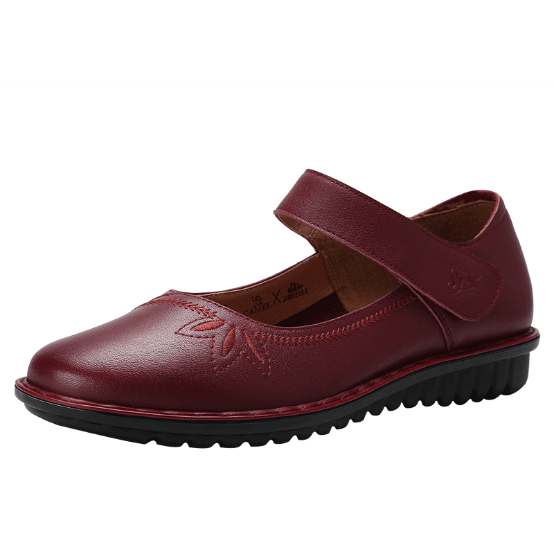健足乐老人鞋 单鞋女鞋夏季妈妈款小皮鞋软底防滑平底魔术贴J83221610