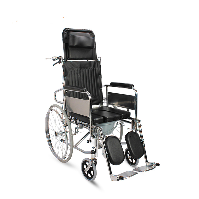 AUFU座便轮椅FS609GCUJ可躺可折叠带便盆老人座便轮椅