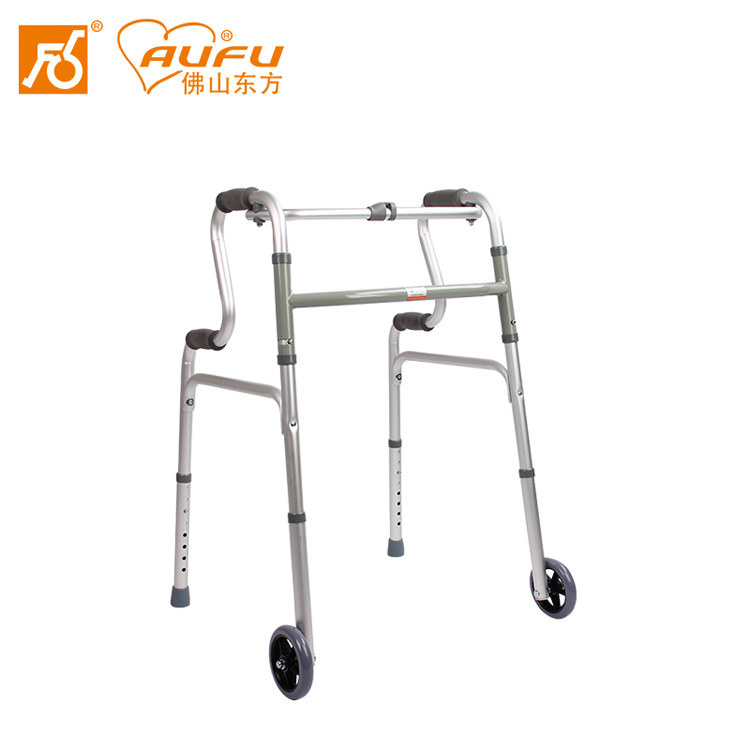 AUFU助行器FS9631L老人框式梯形带轮可折叠铝合金助行架