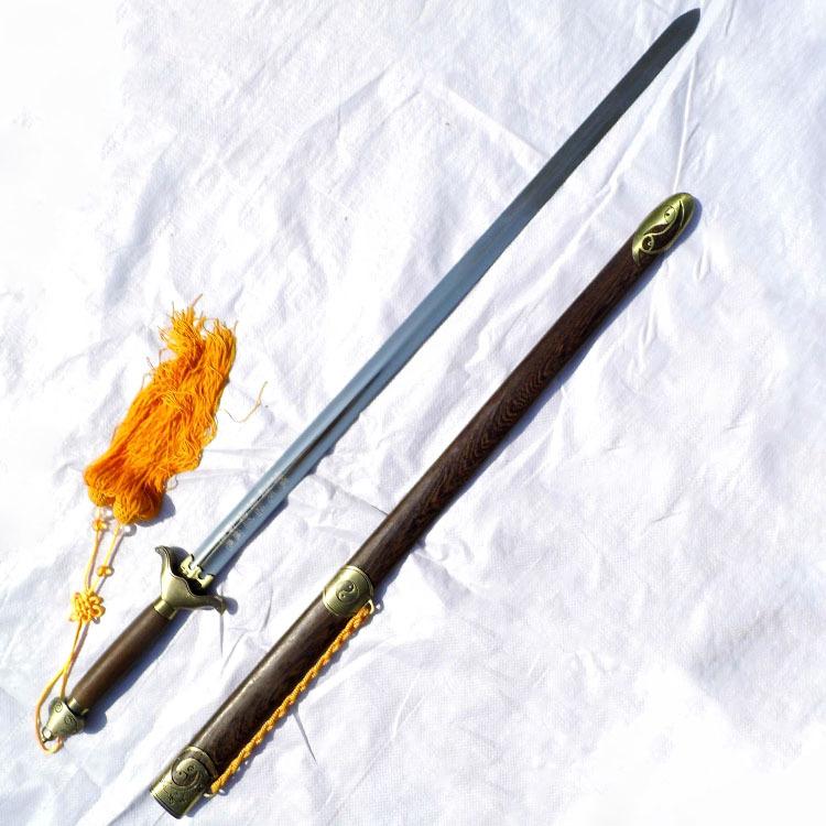 不锈钢龙泉宝剑晨练不锈钢鸡翅木武术太极硬剑未开刃赠剑袋剑穗