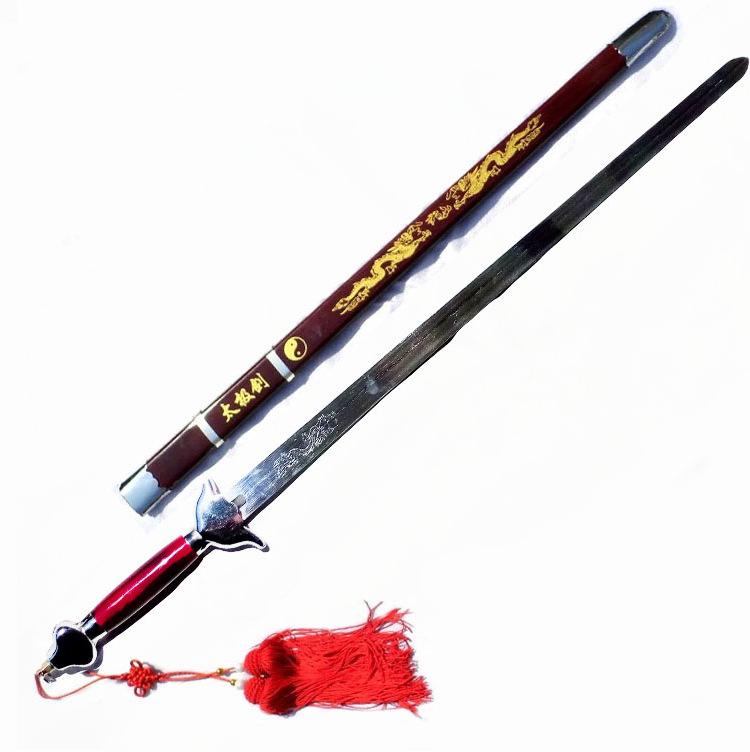 武术起脊硬剑太极剑表演剑 弹簧钢弯曲90度 晨练太极剑道具剑