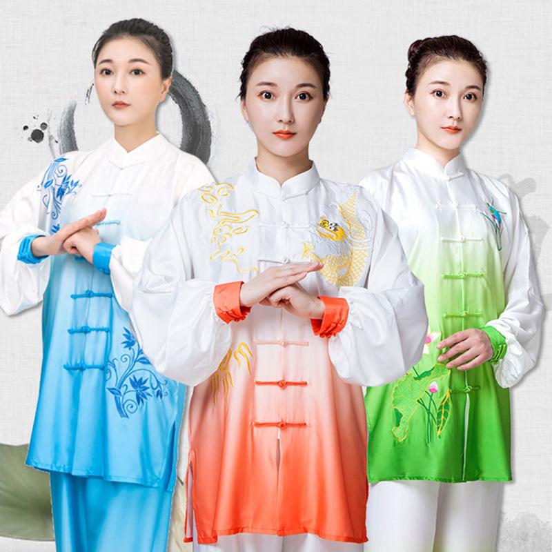 小和山太极服女夏季披纱渐变色刺绣武术表演比赛太极拳练功服