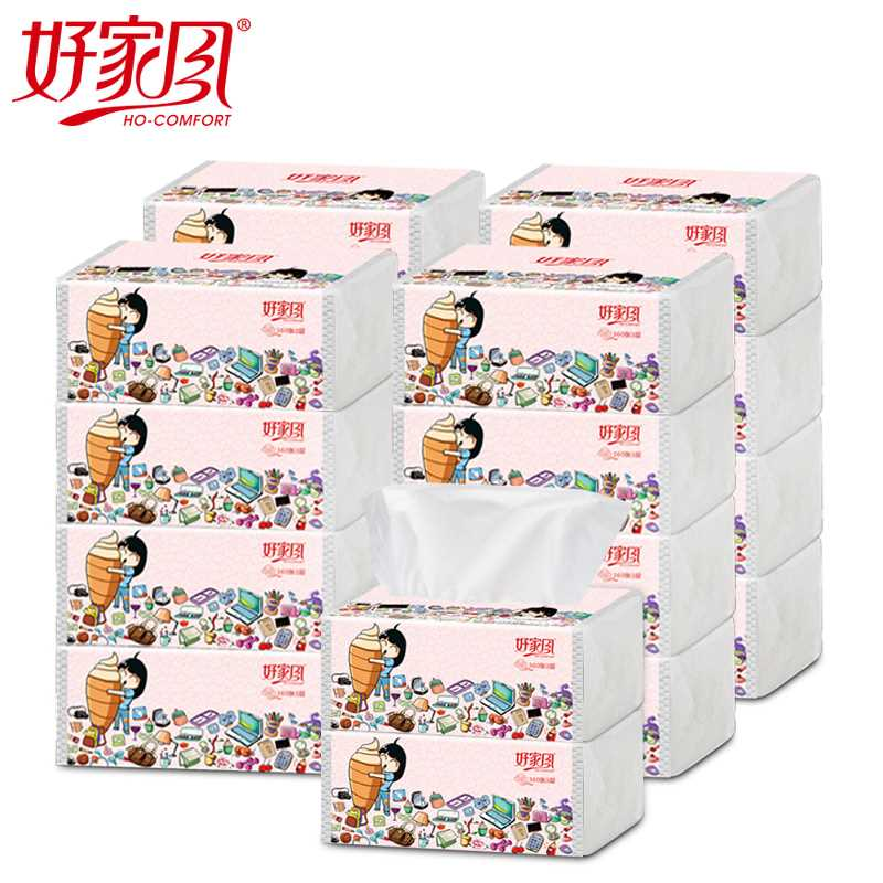 好家风 - 萌小风抽式面巾纸360张(L)18包装   包邮价
