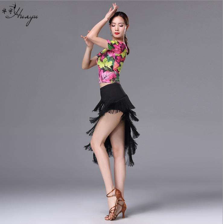新款拉丁舞演出服装V领两穿牛奶丝斜边流苏长裙套装女成人L39款