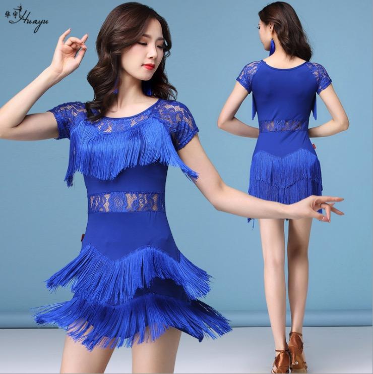 拉丁新款演出服装蕾丝流苏交谊舞蹈连衣裙国标舞比赛服女