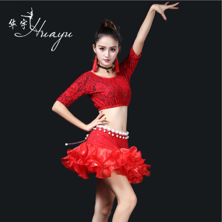 2018新款练功服装女成人演出服中袖亮片泡泡裙舞蹈服装拉丁LK32