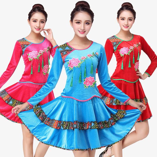 秋冬广场舞服装新款套装金丝绒加厚中老年舞蹈服